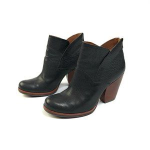 Korkease Castaneda Black Leather Chunky Booties